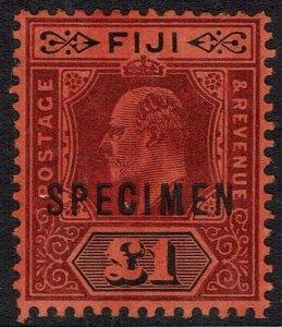 FIJI 1906 KEVII SPECIMEN 1 POUND