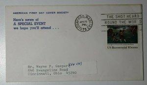 American FDC Special Event shot heard around world 1975 Philatelic Cover cancel