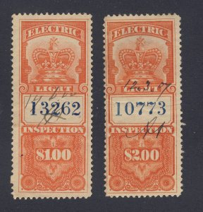 2xCanada Revenue Electric Light Stamps; #FE3-$1. FE4-$2.  Guide Value = $40.00