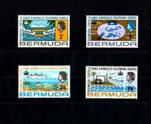 BERMUDA - 1987 - QE II - CABLE - TELEPHONE - SHIP - MAP - 4 X MINT - MNH SET!