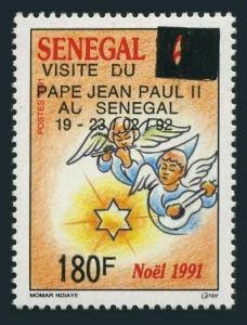Senegal 975,MNH.Michel 1178. Visit of Pope Jean Paul II,1992.Angels,surcharged.