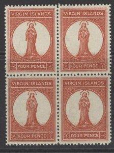 VIRGIN ISLANDS SG36 1887 4d PALE CHESTNUT MTD MINT BLOCK OF 4