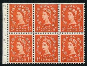 SB14 1/2d 2nd Graphite Wmk Crowns Upright Booklet Pane of 6 U/M