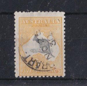 K1116) Australia 1917 5/- Grey & yellow Kangaroo third watermark BW 44