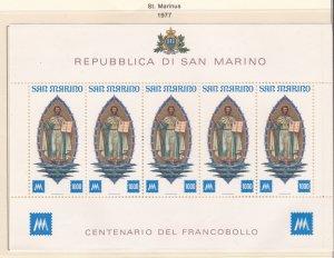 San Marino # 916, St, Marinus, Sheet of Five, NH, 1/2 Cat.