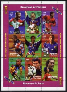 Chad 2002 Champions of Football Shlt (9) perf.mnh Korea WCup