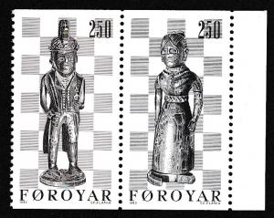 Faroe Is. 19th Century Chess pieces 2v with margin SG#81-82 SC#94b pair