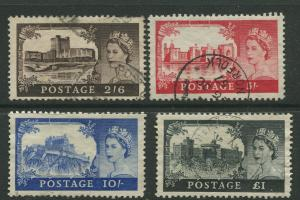 STAMP STATION PERTH Great Britain #309-312 QEII Castle Definitive Used CV$52.50.