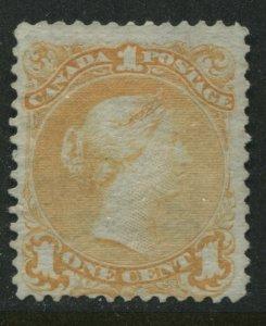 1868 Canada 1 cent orange yellow Large Queen unused no gum