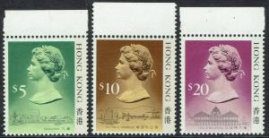 HONG KONG 1987 QEII $5 $10 $20 MNH ** LIGHT SHADING