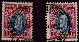 Fascinating So Rhodesia #25, 25a Used F-VF...From a great auction!