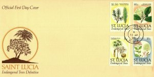 1c Gems St Lucia #953-4,958,961 unaddressed cacheted FDC