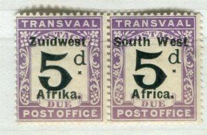SOUTH WEST AFRICA; 1923 early Postage Due issue Mint hinged 5d. pair