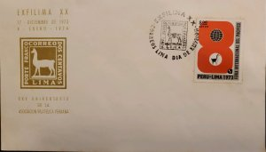 O) 1974 PERU, EXFILIMA, PACIFIC FAIR, INTERNATIONAL PACIFIC FAIR, LLAMA, FDC XF