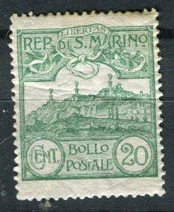 SAN MARINO; 1903-20s early Mt. Titano issue fine Mint hinged 20c. value
