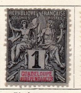 Guadeloupe 1892 Tablet Type Early Issue Fine Mint Hinged 1c. 050827