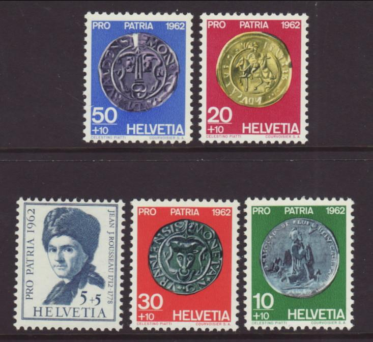 Switzerland B313-B317 Coins on Stamps MNH VF