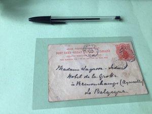 Brompton 1894 to  Belgium postcard Ref 21362