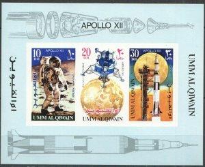 1969 Umm Al Qiwain 400-402/B18b Space Exploration Apollo XII