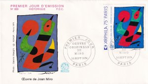 1974, France: Painting by Joan Miro, FDC (E11390)