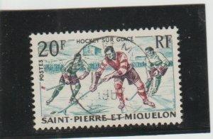 St. Pierre & Miquelon  Scott#  358  Used  (1959 Ice Hockey)