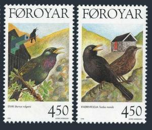 Faroe 330-331,MNH.Michel 332-333. Birds 1998.Sturnus vulgaris,Turdus merula.