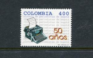 Colombia 1133, MNH, Bogota Journalists Assoc 50th Ann 1997. x23483