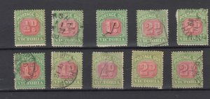 Victoria State Postage Due Collection Of 10 Fine Used JK6316