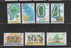 TUVALU #85-91 1978 OVERPRINT INDEPENDENCE MINT VF NH O.G