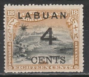 LABUAN 1899 LARGE 4C OVERPRINTED 18C PICTORIAL