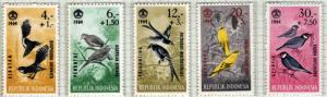 Indonesia Scott B160-B164 MNH** 1965 semi-postal Bird set