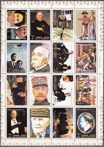 Ajman, Mi cat. 2893-2908 A. Napoleon, Kennedy, Churchill, Queen & De Gaulle sht.