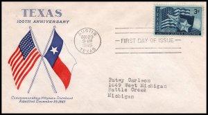 US 938 Texas Statehood Grimsland Typed FDC