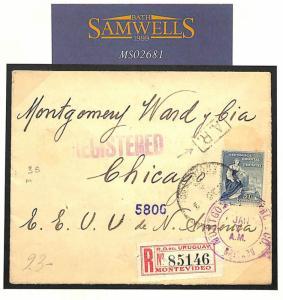MS2681 1914 Uruguay registered/USA 'A.R.' avis de reception service. Scarce