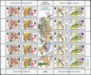 Serbia & Montenegro 219 sheet,MNH. WWF 2004.Insects:Parnassiusapollo,Rosalia,