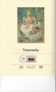 United Nations UNICEF Flag Proof Edition Panel Venezuela 1980