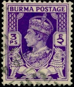 BURMA  SG19, 3p bright-blue, FINE USED.