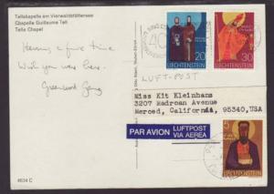 Liechtenstein to Merced CA 1970 Postcard