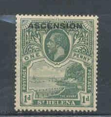 Ascension Sc 2 1922 1 d green G V stamp ovptd mint
