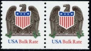SC#2604 (10¢) Eagle & Shield (Low Gloss) Coil Pair MNH