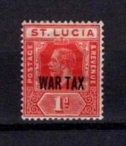 St Lucia 1916 George V 1d Definitive overprinted with WAR TAX