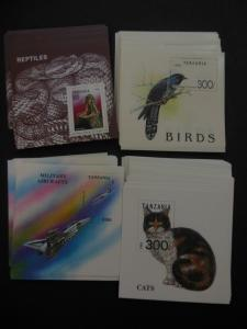 TANZANIA : 4 colorful Topical S/S of Birds, Cats, Snake & Airplanes. 50 of each.