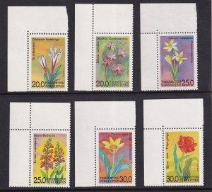 Uzbekistan    #38-43  MNH   1993   flowers
