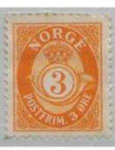 NORGE, 1937, MH 3ore orange