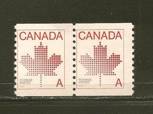 Canada 908 (30C) Maple Leaf  Á' Coil Pair MNH