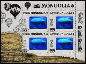 MONGOLIA ZEPPELIN HOLOGRAM STAMP 1993, MINISHEET