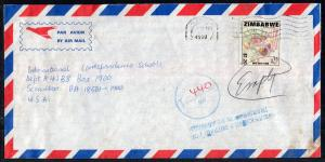 Zimbabwe to Scranton,PA 1999 Airmail Postage Due Cover