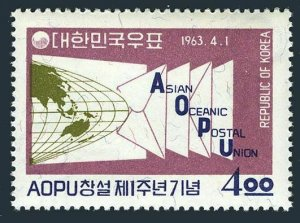 Korea South 382,382a,MNH.Mi 378,Bl.180. Asian-Oceanic Postal Union,1963.Globe.