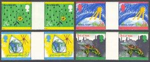 Great Britain 1992 Scott #1463-1466 Gutter Pairs Mint Never Hinged