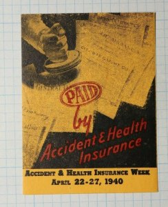 Accident & Health Insurance Week 1940 Insurance Co Poster Stamp Ad